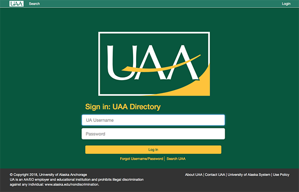 Online Directory Login page
