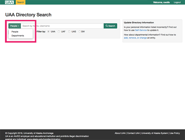 Online Directory Search Type Button