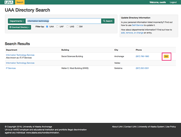 Online Directory Search Results Department Edit Button